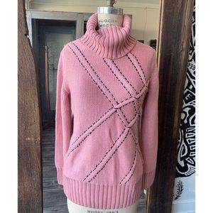 Anthropologie Penny Lane Sweater Pink and black L